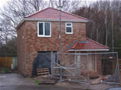 New-build house in Cardiff, using Redland Regent interlocking tiles.